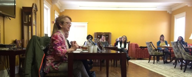 Novelist Susan Koefod '81 speaking to students and faculty in Derham Hall. Photo by Michelle Mullowney.